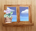 Window with flower pots pencil hand drawn illustration of a Stock Image