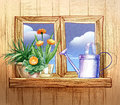 Window with flower pots pencil hand drawn illustration of a and watering can Royalty Free Stock Images