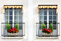 Window with flowers in pots paris Stock Image