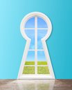 Window in form keyhole with lake view Stock Image