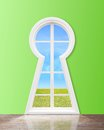 Window in form keyhole modern with lake view Stock Photo