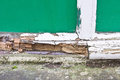 Window frame rot close up of part of a wooden showing extensive Royalty Free Stock Image