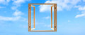 Window frame wooden open sky panoramic Royalty Free Stock Photo
