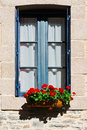 Window french with open wooden shutter Royalty Free Stock Image