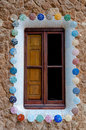 Window at ginger house in park guell at barcelona details of big spain Royalty Free Stock Photo