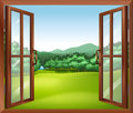 A window with a good view illustration of of the beautiful gift of nature Stock Photo