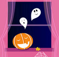 Window Halloween scene with Ghosts. Royalty Free Stock Photo