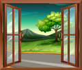 A window of a house near the road illustration Stock Photos