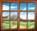 A window illustration showing view and Royalty Free Stock Images