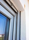 Window and insulation a modern installation detail frames polystyrene Stock Photography