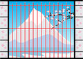 Window of Japan House with Fuji Mountain View, Vector Illustration