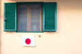 Window with Japanese flag Royalty Free Stock Photo