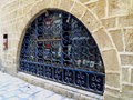 Window with lattice semicircular a blue decorative metal jaffa israel Stock Photography