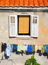 Window and laundry Royalty Free Stock Photography