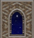 Window looking out to night sky with wishing star Royalty Free Stock Image
