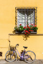 Window of a mediterranean house with bicycle Royalty Free Stock Photo