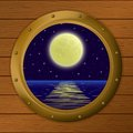 Window with moon and sea Stock Photography