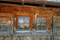 Window with mountain reflection old wooden shutters austrian Royalty Free Stock Photos
