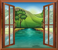 A window near the flowing river illustration of Royalty Free Stock Photography