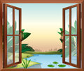 A window near the pond illustration of Royalty Free Stock Photo