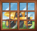 A window near the yellow vehicle illustration of Royalty Free Stock Photos