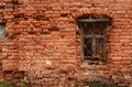 Window of the old brick house close up Stock Images