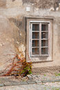 Window in the old house on one of streets of prague cracks plaster a low arrangement over sidewalk plant creeping a wall to a Royalty Free Stock Photography