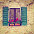 Window of the old italian house instagram effect Royalty Free Stock Photos