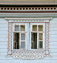 Window of an old russian house decorated with carving russia diveevo Royalty Free Stock Photos