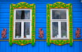 Window of an old russian house decorated with carving russia golden ring Royalty Free Stock Images