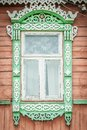 Window of old traditional russian wooden house. Royalty Free Stock Images
