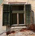 Window with old wood shutters in sibiu romania Stock Photo