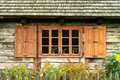 Window of a old wooden cottage Stock Image