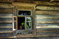 Window of old wooden house on a farm wall Stock Image