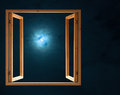 Window open dark night half moon light Royalty Free Stock Photo
