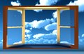 Window opportunity overlooking blue sky beautiful summer clouds Royalty Free Stock Photo