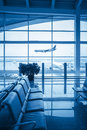 Window outside scene in airport lounge Royalty Free Stock Photo