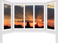 Window overlooking the scarlet sunset