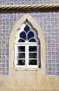 Window from Pena-Sintra National Palace, Blue Glaze Tiles Wall Royalty Free Stock Photo