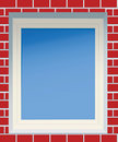 Window in a red brick wall. Royalty Free Stock Photography