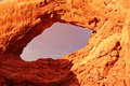 Window red desert at sunset arches national park utah usa Stock Image