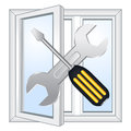 Window repair workshop vector emblem Royalty Free Stock Image
