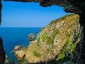 Window in the rock, Sark Island, Channel Islands Royalty Free Stock Photo