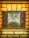 Window in rome image of a with wooden shutters italy Stock Photography