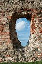 Window ruins of medieval castle of the livonian crusades in bauske latvia Stock Image