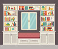The window seat and wall of books for the home office stylish modern interior vector illustration Royalty Free Stock Photography