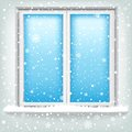 Window and snow the plastic falling winter theme Stock Photos