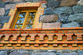 Window in a stone wall Stock Photos