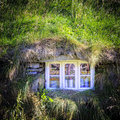 Window of turf house an old in iceland Royalty Free Stock Photo