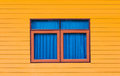 Window the twin color with wooden design Royalty Free Stock Images